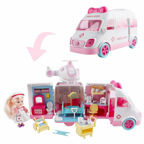 deAO 2-in-1 Transforming Ambulance and Hospital Vehicle Playset- Versatile Toy for Children Includes Accessories