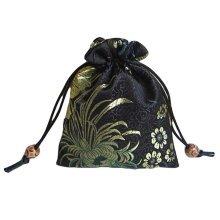 Fashion Jewelry Pouch Drawstring Bag Cloth Gift Bag 10pcs-Black