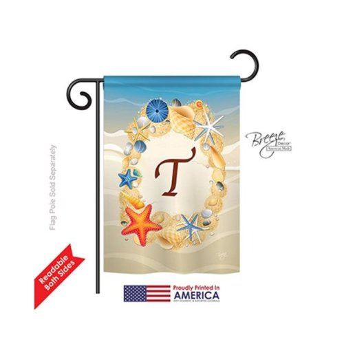 Breeze Decor 80176 Summer T Monogram 2-Sided Impression Garden Flag - 13 x 18.5 in.