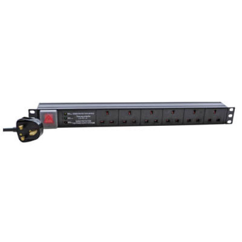 Eagle 6-Way UK Horizontal Socket 19  PDU with 3 Way Surge Protection to 3 Pin UK Plug 3m Lead