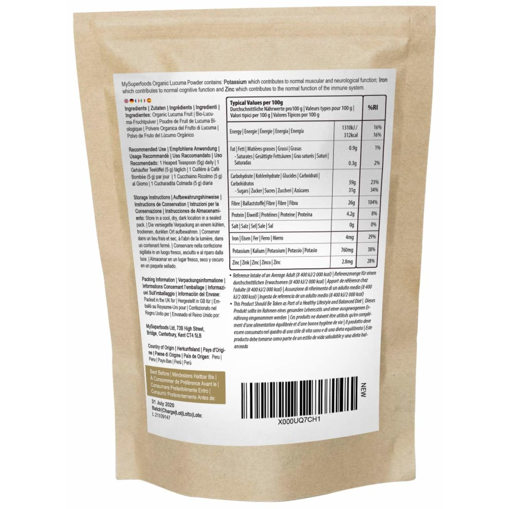Organic Lucuma Powder (500g) | MySuperFoods | Peruvian Fruit with Natural  Sweet Taste | High in Protein, Calcium and Phosphorus | Certified Organic