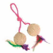 Trixie 2 Balls On A Rope - Jute Cat Toy - Feathers Catnip Kitten -  2 jute rope cat toy balls trixie feathers catnip kitten