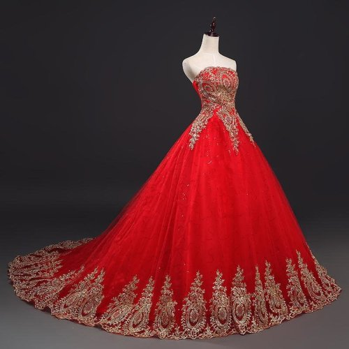 Free Shipping Vintage Lace Red Wedding Dresses Long Train Plus Size Ball Gown Robe de Mariee Cheap FSM-118T
