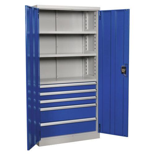 Sealey APICCOMBO5 1800mm Industrial Cabinet 5 Drawer 3 Shelf