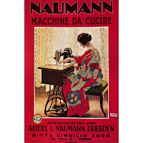 Advertising poster - Naumann Sewing Machines - High definition printing on stainless steel plate