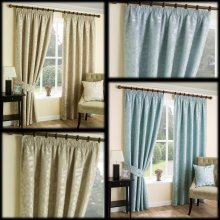 Chelford woven leaf trail lined pencil pleat curtains