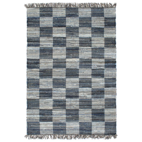 vidaXL Hand-woven Chindi Rug Denim 120x170cm Blue Home Room Floor Carpet Mat