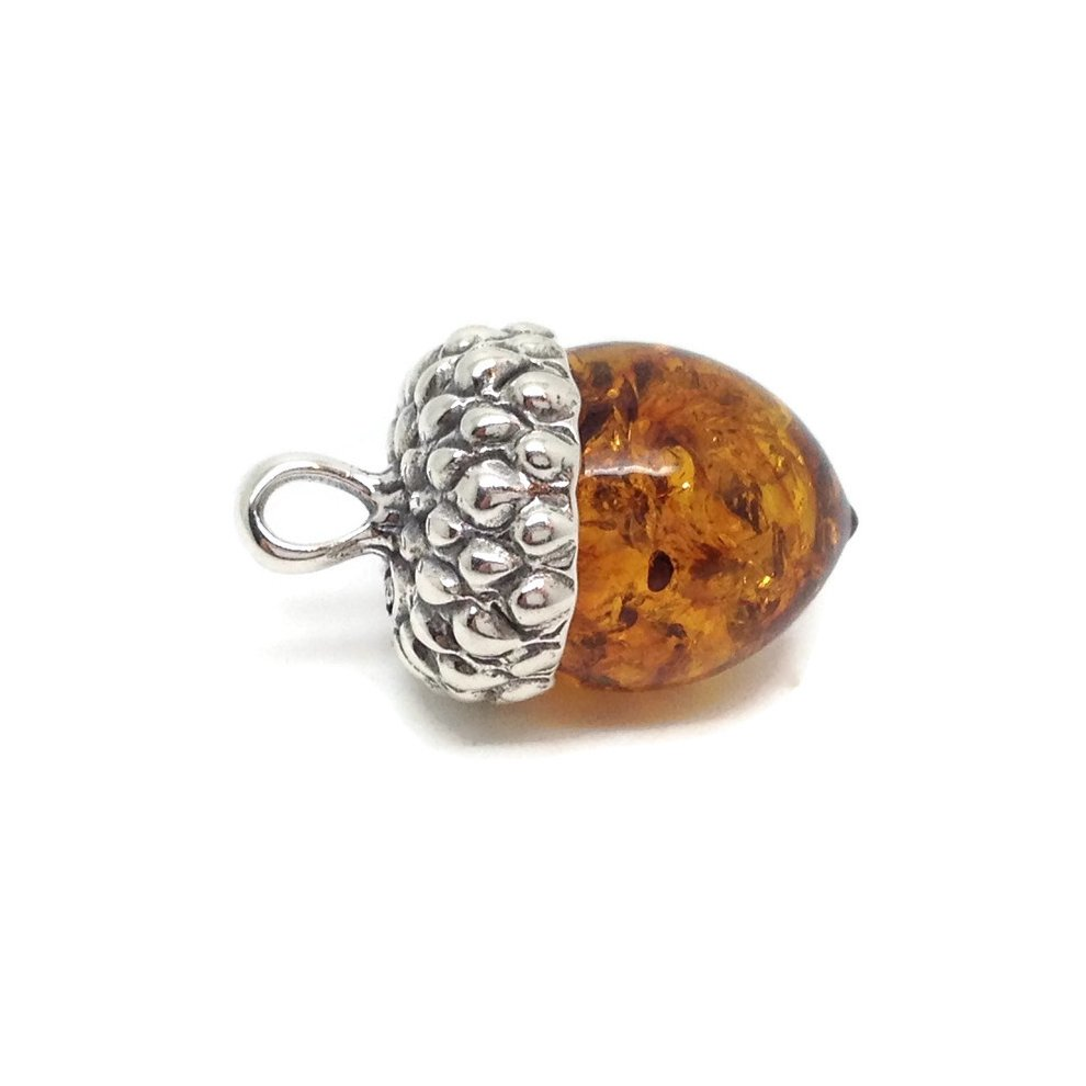 ad282b3b9 Real Baltic amber acorn pendant, solid Sterling Silver. on OnBuy