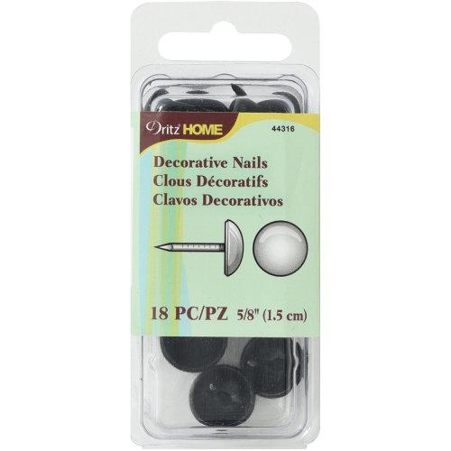 "Dritz Home Decorative Nails 5/8"" 18/Pkg-Black Smooth Nailhead"