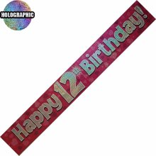 Age 12 Birthday Banner Female
