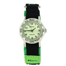 Ravel Nite-Glo Quartz Luminous Dial Green & Black Velcro Boys Watch R1708.11