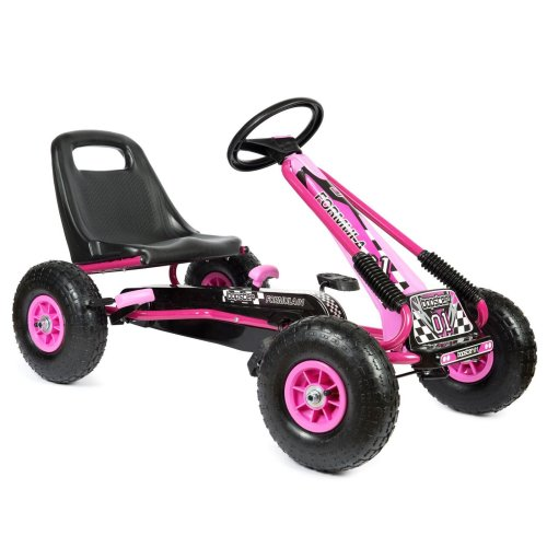 Pedal Go Kart with Inflatable Tyres 5-8 Years - Pink