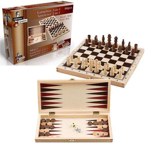 3 in 1 Classic Wooden Games - Chess, Backgammon, Draughts