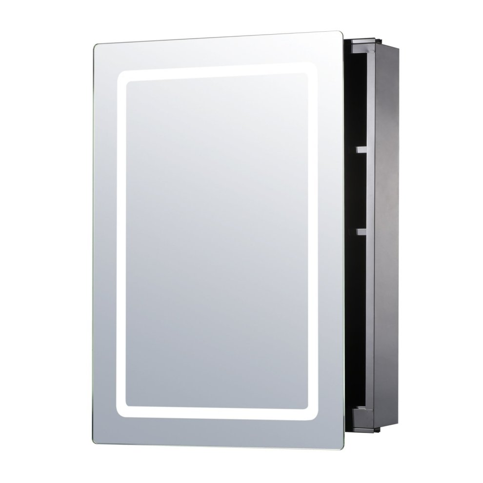 Homcom illuminated mirror cabinet led bathroom wall - Wall cabinet with mirror for bathroom ...