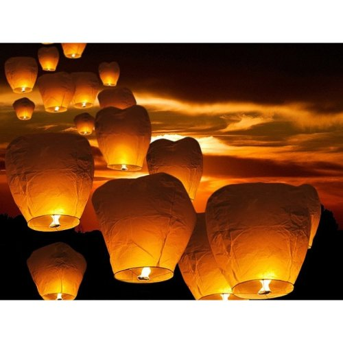 10pc Flying Paper Lantern Set | Chinese Sky Lanterns