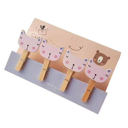 Creative Natural Wooden Lovely Photo Paper Peg Pin Craft Clips with 52CM Jute Twine, NO.9