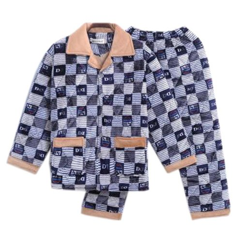 Men Pajamas Warm Thick Cotton Winter Suit Modern Set Sleepwear/Nightwear Clothes for Home, C6