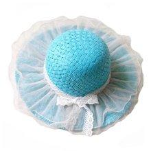 Children Princess  Lace Bowknot Beach Hat Sun Hat Girls Hat,BLUE