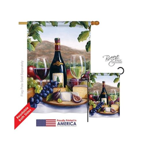Breeze Decor 17025 Red & White Wine 2-Sided Vertical Impression House Flag - 28 x 40 in.