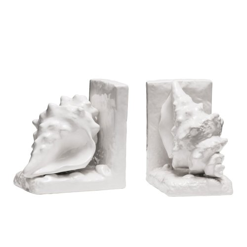 Set Of 2 Conch Bookends, White