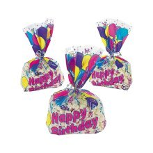 12 x Birthday Balloon Cellophane Goody Bags