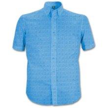 The Beatles Men's Hard Days Night Regular Fit Short Sleeve Casual Shirt, Blue,