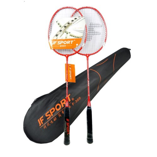 Set of 2 Badminton Rackets Badminton Set Neon Yellow with 3 Shuttlecocks, a Bag