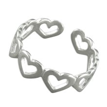 Sterling Silver Open Hearts Toe Ring