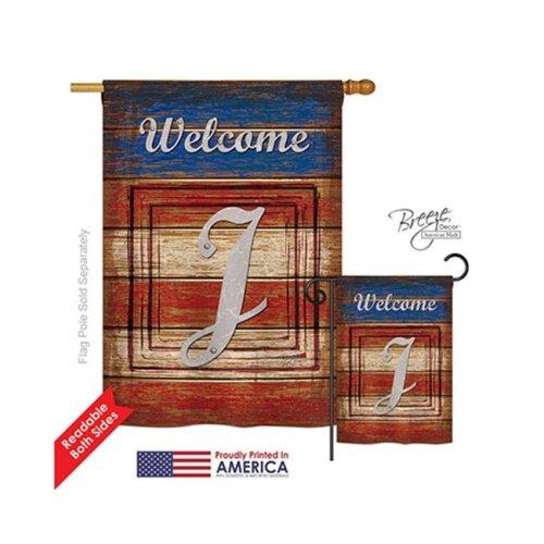 Breeze Decor 30114 Patriotic J Monogram 2-Sided Vertical Impression House Flag - 28 x 40 in.