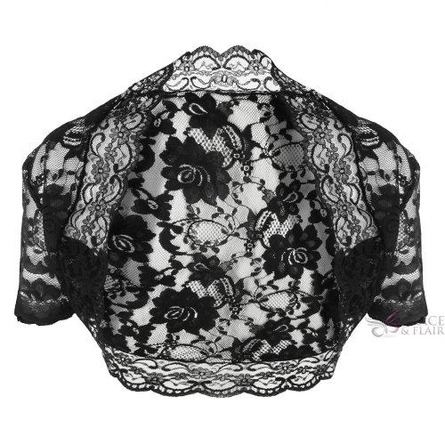 Grace & Flair - Ladies Black Lace Short Sleeve Bolero Size 6-30