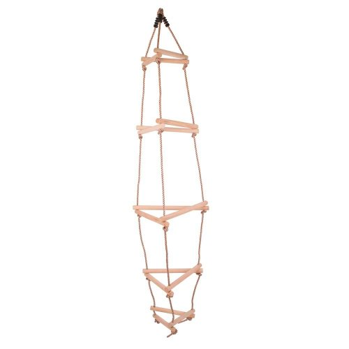 Bigjigs Toys Triangular Wooden Rope Ladder with 15 Rungs for Climbing Frame/Tree House