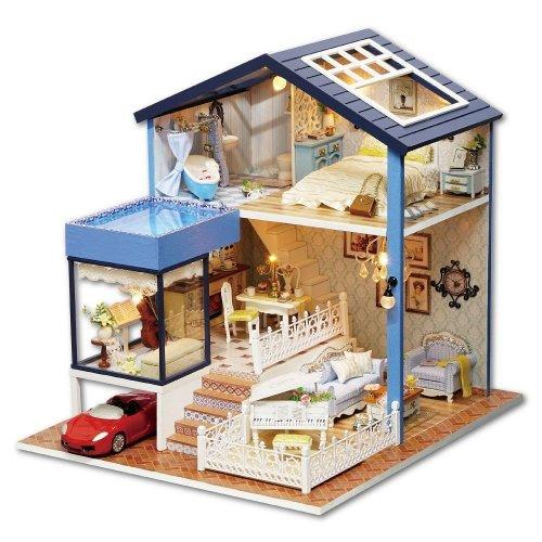 DIY Wooden Dollhouse Handmade Miniature Kit- LED Seattle House Model & Furniture/Music box
