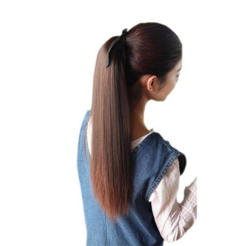 Deep Brown Long Straight Ponytai Wig for Women, 55cm