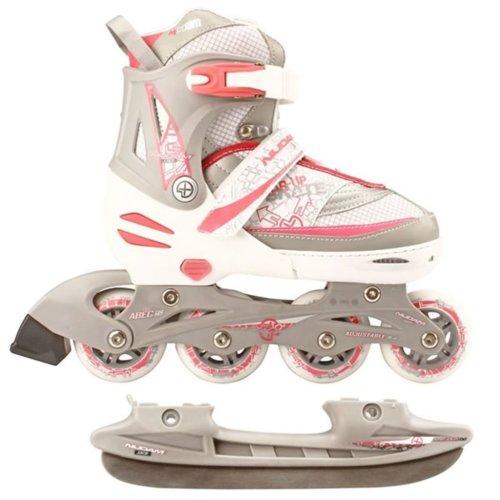 Nijdam Inline Combo Ice Skates 35-38 White/Silver/Pink 52SZ