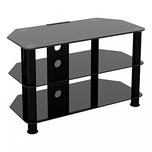 """King Universal Black Glass TV Stand 80cm suitable up to 42"""" inch for HD Plasma LCD LED OLED Curved TVs"""