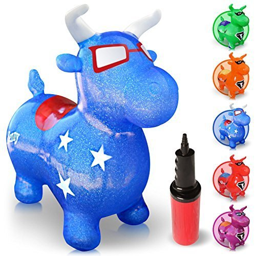 WALIKI TOYS Bouncy Horse Benny the Jumping Bull (Inflatable Animal Hopper, Hopping Horse, riding horse for kids, blue, pump included)
