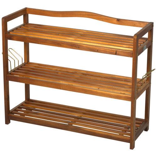 HOMCOM Acacia Wood 3-Tier Shoe Storage Rack Hallway Organiser Shelf with 2 Hangers Teak Colour (74L x 26W x 62H cm)
