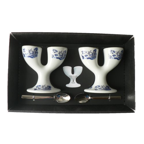 Blue Willow Pattern Double eggcups Set of 2 Gift Boxed