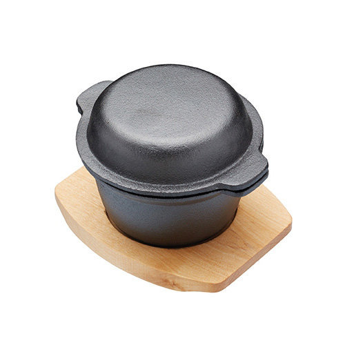 Master Class 300 ml Artesa Cast Iron Mini Pot with Maple Wood Serving Board