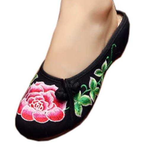 Womens Embroidered Summer Slippers Wedges Sandals Shoes for Cheongsam, #18