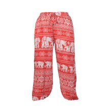 Women's Smocked Waist Elephant Print Harem Hippie Trousers