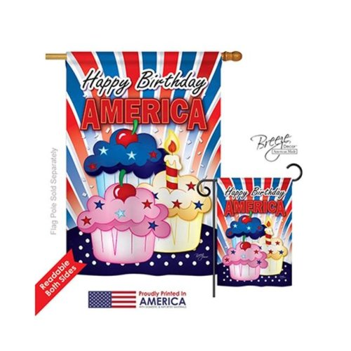 Breeze Decor 11052 Fourth of July American Cupcake 2-Sided Vertical Impression House Flag - 28 x 40 in.