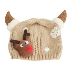 Winter Baby Kids Christmas Hats Warm Deer Crochet Caps Best Gift For 6-12 month Baby-Khaki