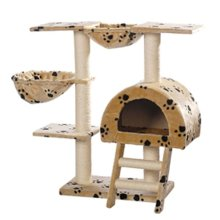 Cat Tree 105 cm Beige with Paw Prints 2 Scratching Posts