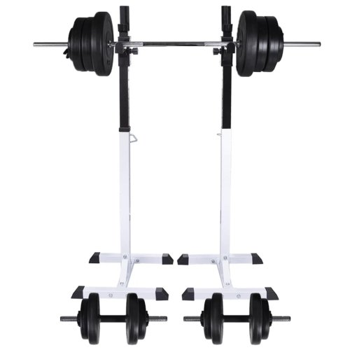 vidaXL Barbell Squat Rack with Barbell and Dumbbell Set 60.5kg Stand Holder