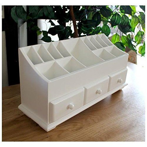 White Wooden Desk Tidy Organiser Caddy Pen Holder Tidy Make Up 3 Drawer Cosmetic