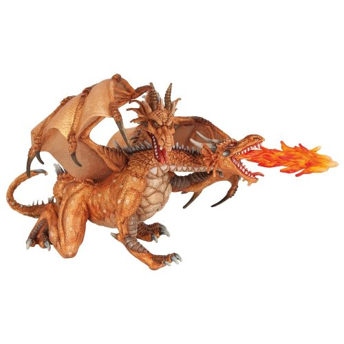 Papo Two Headed Dragon Figure - Gold Two New Fantasy 38938 Brand Figurine -  papo dragon gold twoheaded new fantasy 38938 figure brand figurine