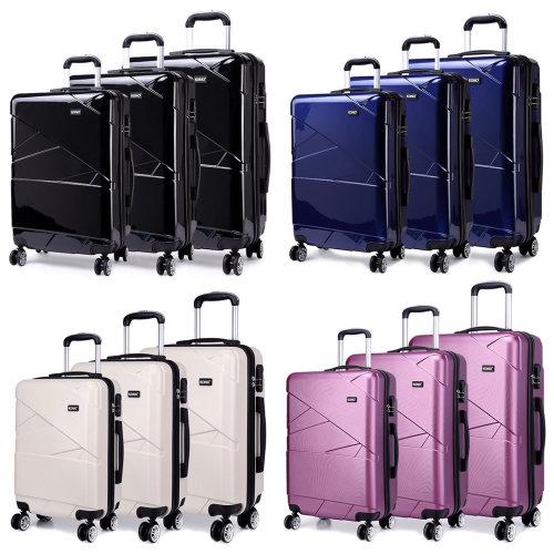 "KONO Geometric 4 Wheel Spinner Suitcase | 20, 24, 28"" & Set"