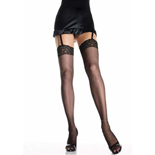 Leg Avenue - Sheer lace top thigh highs with rhinestone anklet. - One Size - Black - 9216