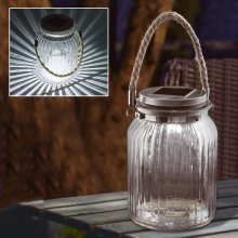 2 X New Solar LED Glass Hanging Garden Rope Jar Outdoor Table Decoration Light Lamp